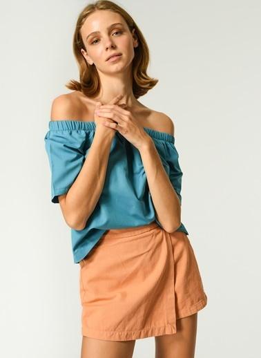 NGSTYLE NGSTYLE Kadın Kayık Yaka Carmen Bluz Mavi